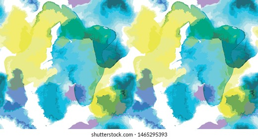 Abstract watercolor painted illustration in blue, yellow, green and purple. Seamless Brush stroked painting background for wallpaper, textile or paper - Vector