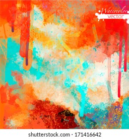 Abstract watercolor palette of  Grange color, mix color, background,vector illustration,a mixture of colors, stains with a spray of water colors, the author's work.
