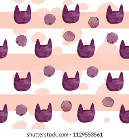 Abstract watercolor pattern with cat silhouette and dots. Background for children, otkrtki, wrapping paper, clothes, textiles, fabrics, bed linen, web, backpacks.