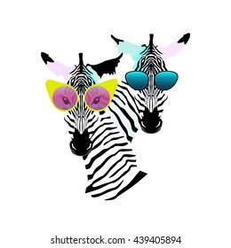 Abstract watercolor pattern Two funny striped Zebra (girl man) sunglasses (yellow, pink, blue),  fashion vector color print design, cool style for summer, logo, draw animals, black and white