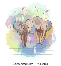 Abstract watercolor pattern Two funny little babies elephants (boy girl) birds in floral background ( blue pink green) ,  vector color print design love, greeting card, draw animals, Isolated on white