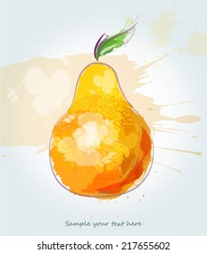 Abstract watercolor pear illustration