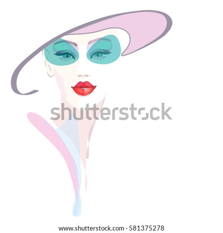 7ef7fdb12a Abstract Watercolor Portrait Girl Hat Pink Stock Vector (Royalty ...