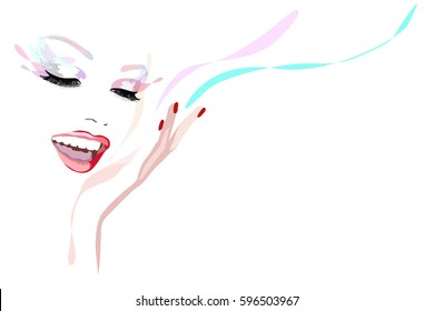 Abstract watercolor portrait girl model Laughs, fashion art, beauty. Color vector prints, design Makeup, isolated on white background for text, women and hand with red manicure, ruby lips