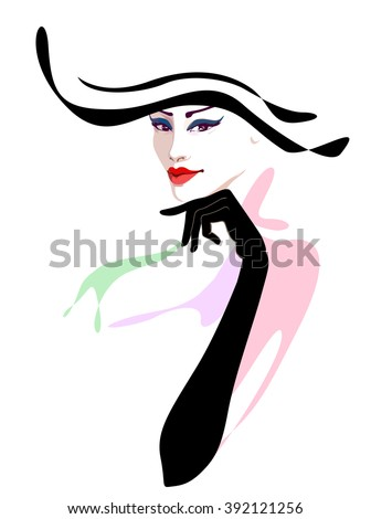 5680e66f89 Abstract Watercolor Portrait Girl Striped Hat Stock Vector (Royalty ...