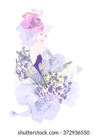 Abstract watercolor portrait of a model (girl) , hat-shaped pink roses, lilac flower dress , beauty logo , isolated white background, fashion color vector prints