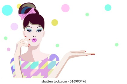 Abstract watercolor portrait surprised girl model, fashion art, beauty. Color vector prints, Makeup, showing empty copy space background for text (gift), women shop, sale. Gestures for advertisement.