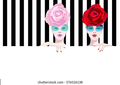 Abstract watercolor portrait surprised two girl model, hat pink red rose, sunglasses, fashion art, beauty. Color vector prints, Makeup, showing empty copy space background for text, women shop, sale.