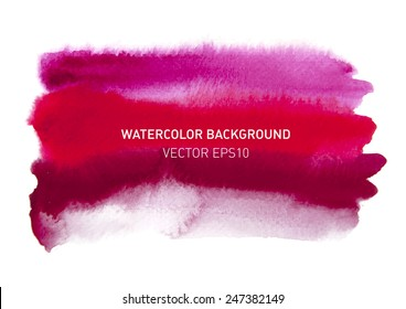 Abstract watercolor rainbow gradient background. Hand drawn red and pink painting on texture paper. Vector illustration.