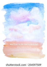 Abstract watercolor rainbow gradient background. Sky with pink clouds. Hand drawn painting on texture paper. Vector illustration.
