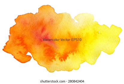 Abstract watercolor rainbow gradient background. yellow and orange fire blot. Hand drawn painting on texture paper. Vector illustration.
