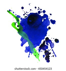 Abstract watercolor smear with drop dark blue yellow color. Design background for banner and flyers