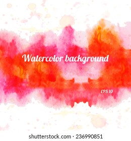 Abstract Watercolor Stain Background. Red watercolour banner. Vector Hand-drawn Illustration.