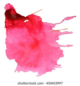 Abstract watercolor stain with drop gentle pink color. Design background for banner and flyers