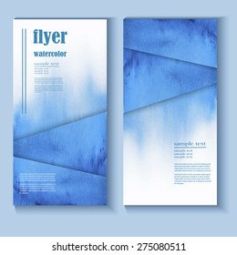 abstract watercolor style brochure design in blue