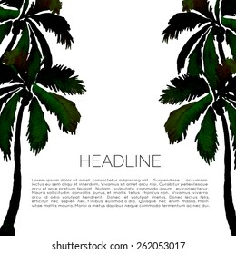 Abstract watercolor template with palm trees. Aquarelle brochure with coconut palms. Travel leaflet.