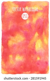Abstract watercolor vector background. Pink, orange, yellow stains. Hand drawn texture. Rough, artistic edges.
