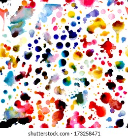 Abstract watercolor vector seamless pattern. Watercolor hand-drawn composition for scrapbook design. Seamless square pattern can be used for wallpapers, web page backgrounds or wrapping papers. EPS 8.