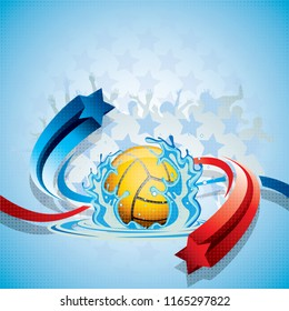 Abstract waterpolo ball in a background with a water splash, blue and red arrows and fans