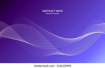 Abstract wave element for design. Blue. Digital frequency track equalizer. Stylized line art background. Colorful shiny wave with lines created using blend tool. Curved wavy line, smooth stripe Vector