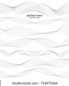 Abstract wave element for design. Digital frequency track equalizer. Stylized line art background. Vector illustration. Wave with lines created using blend tool. Curved wavy line, smooth stripe. Set