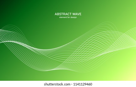 Abstract wave element for design.Green. Digital frequency track equalizer. Stylized line art background. Colorful shiny wave with lines created using blend tool. Curved wavy line, smooth stripe Vector