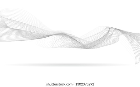 abstract wave gray thin curved lines graphic background for design  with  wavy halftone dots