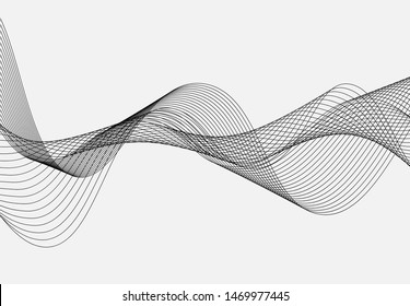 Abstract wave line for equalizer. Background curve digital frequency. Graphic radio pulse for poste, banner, print. Modern curved sound wave. Creative audio track for business technology.