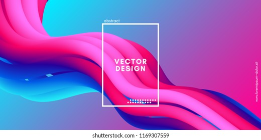 Abstract Wave Liquid Shape. Colorful 3d Flow Design. Trendy Rainbow Gradient in Pastel Colors for Wave Poster, Flyer. Modern Vector Illustration. Creative Wave Template with Rainbow Fluid Elements.