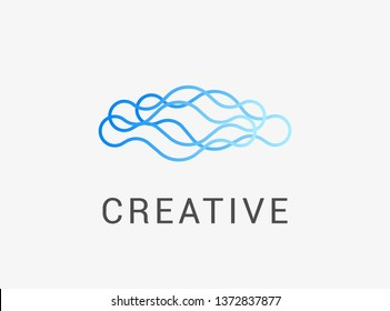 Abstract Wave Logo With Linear Style