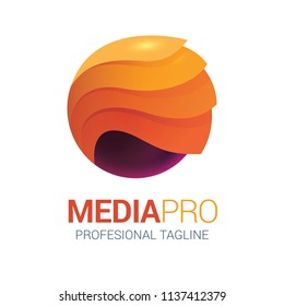 Abstract wave media logo in vector format ideal for corporate identity