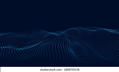 Abstract wave with moving dots. Flow of particles. Vector cyber technology illustration.