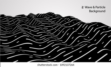 Abstract wave and particle background, vector 3d illustration.