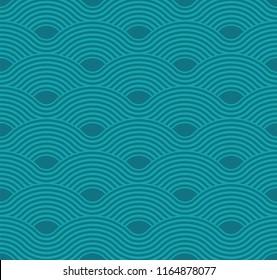 Abstract wave pattern. Aquamarine ripple background. Flat geometric design.