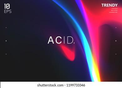 Abstract Wave Shapes Background Design. Vivid Colors Backdrop. Trendy Color Flow Artwork