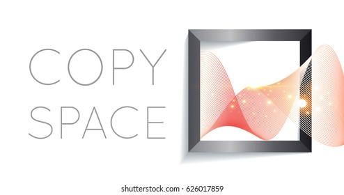 abstract wave in square with shine sparkles isolated on white background