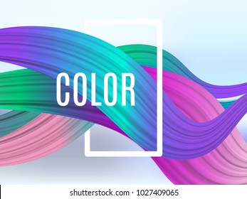 Abstract waves. Colorful graphic fluid dasign bacground. Vector color dynamic curve.