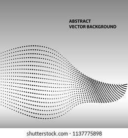Abstract waves and dots background. Vector illustration