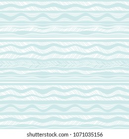 Abstract waves seamless patterns. Blue wavy brush strokes, lines on white background. Borders, ribbons set.