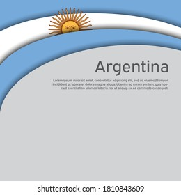 Abstract waving flag of argentina. Paper cut style. Creative background for Argentina patriotic holiday card design. National Poster. Argentinean state patriotic cover, flyer. Vector design