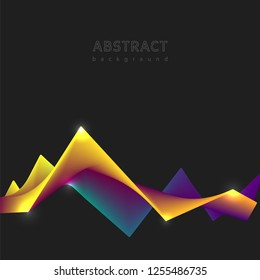 Abstract wavy background. Dynamic composition 3d form. Design template for flyer, poster, banner. Dynamic effect. Vector illustration Eps10.