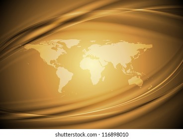 Abstract wavy background with world map. Eps 10 vector design