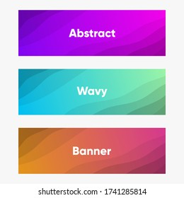 Abstract wavy colorful set of header banner web tamplate