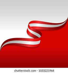 Abstract wavy flag of the Austria with ribbon style. Background Template. Eps 10 Vector.
