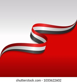 Abstract wavy flag of the Iraqi with ribbon style. Background Template. Eps 10 Vector.