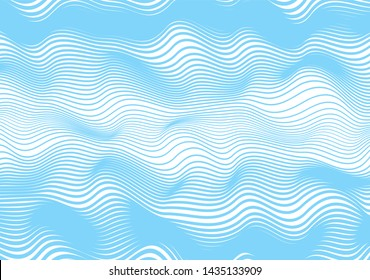 Abstract wavy horizontal lines, blue winding, relief wave. Vector illustration template with the ability to overlay isolated background.