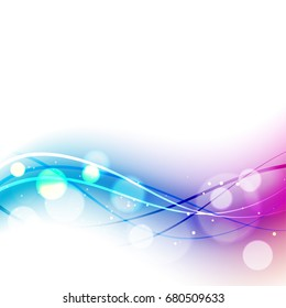Abstract wavy lines with bokeh lights effect on white background.