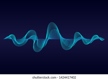 Abstract  wavy lines  surface on dark blue background. Soundwave of gradient lines. Modern digital frequency  equalizer on abstract background. vector eps10