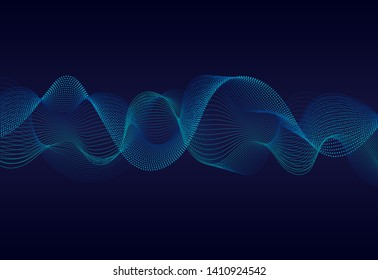Abstract wavy particles surface on dark blue background. Soundwave of particles. Music sound wave background with 3d grid. vector illustration