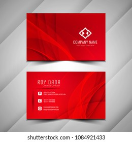 Abstract wavy red business card template design